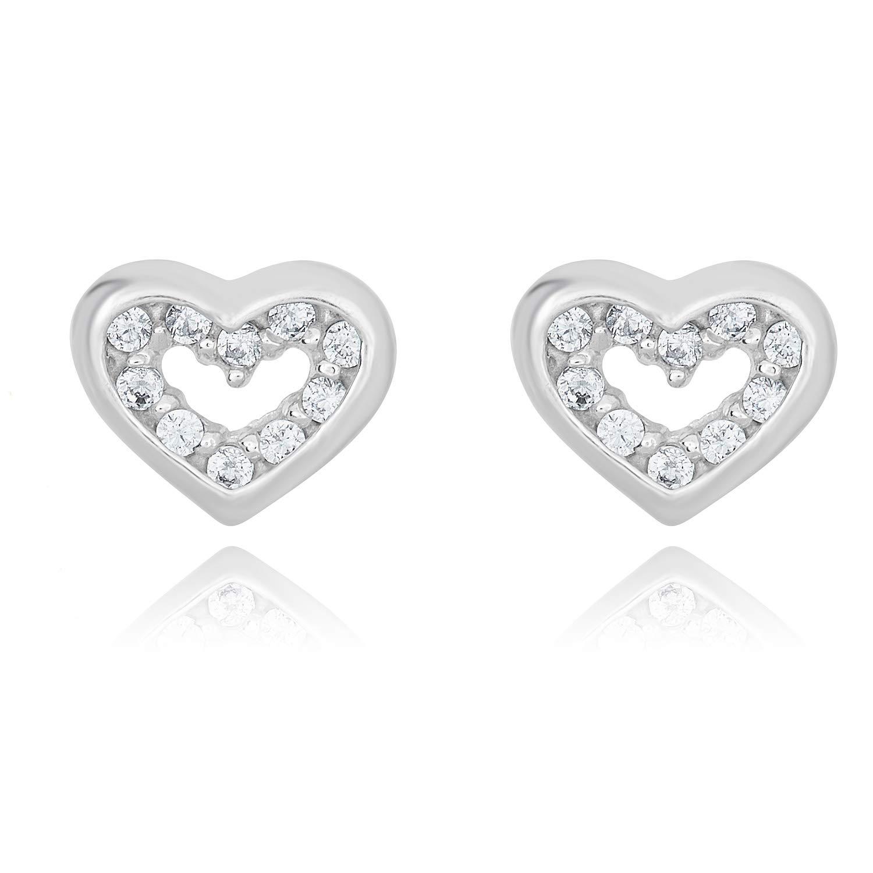 40540fe17 Amazon.com: 10K White Gold Simulated Diamond CZ Heart Screw Back Earrings: Stud  Earrings: Jewelry