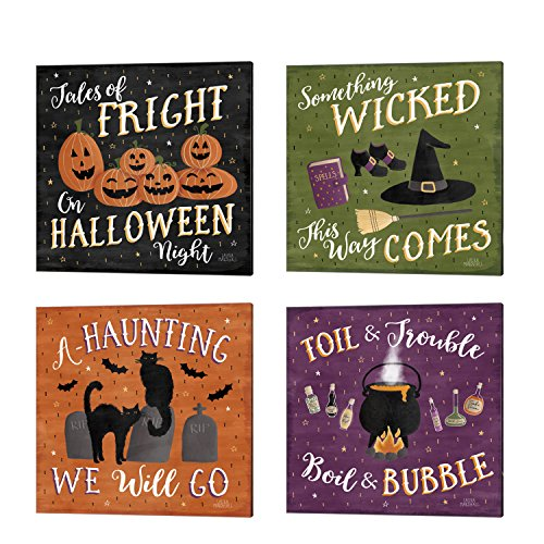 Haunted Halloween by Laura Marshall, 4 Piece Canvas Art Set, 14 X 14 Inches Each, Word Art