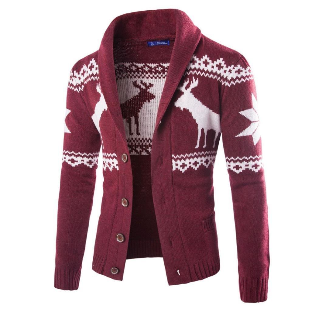 Yuxikong Mens' Coat, Winter Christmas Sweater Cardigan Xmas Knitwear Coat Jacket Sweatshirt (Wine Red, XL)