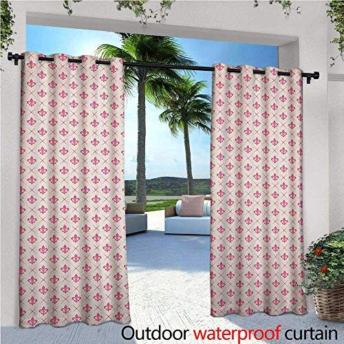 familytaste Fleur De Lis Outdoor Blackout Curtains Pink Colored Ancient Lily Flower Motifs with Checkered Pattern French Heraldry Outdoor Privacy Porch Curtains W84 x L84 Pink Cream