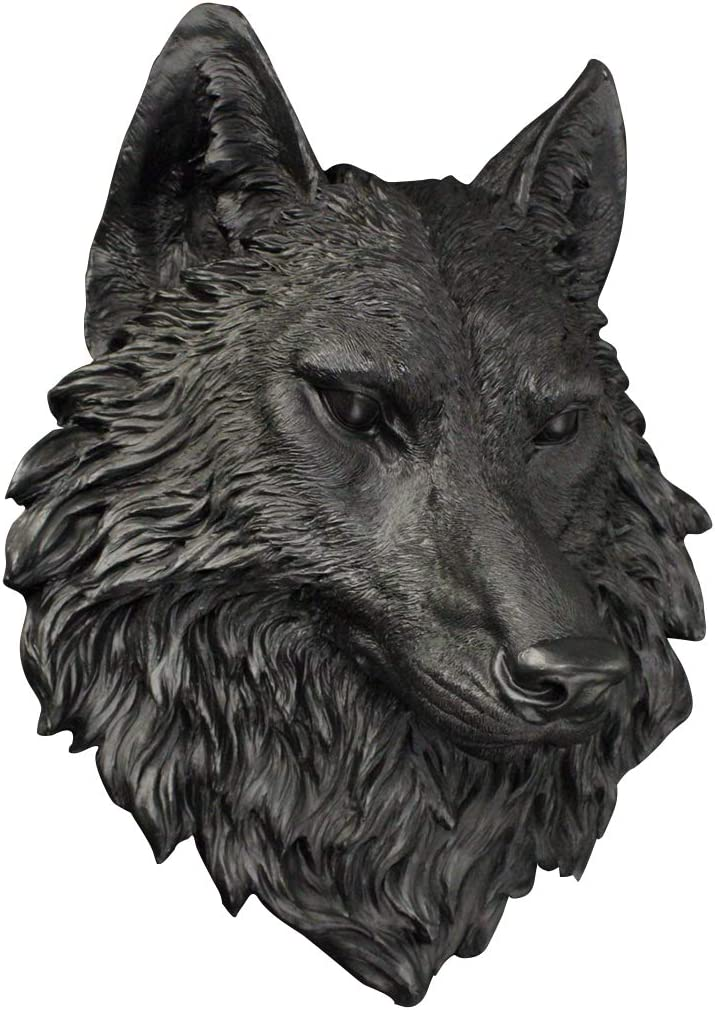 Wall Charmers Large Black Faux Wolf Head Wall Hanging – 16 inch Faux Taxidermy Animal Head Wall Decor – Handmade Farmhouse Decor – Wolves Black Wall Decor