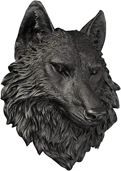 Wall Charmers Large Black Faux Wolf Head Wall Hanging