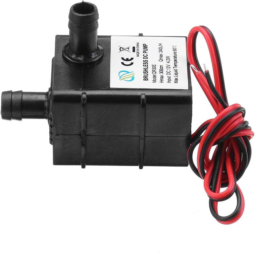 H Mini bomba negra ultra silenciosa Hardware mec/ánico bomba de agua profesional para acuario Ba30DEllylelly Bomba el/éctrica sumergible de agua DC 12V 240L