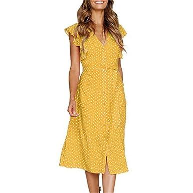 c2a9425cf16e Btruely Vestidos Mujer Verano, Vestido sin Mangas con Estampado de ...