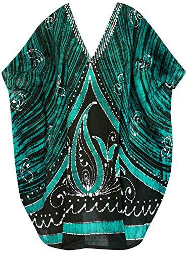 La Leela algodón puro Paisley batik 5 en 1 Aloha traje baño traje baño partido la playa bikiní cubre para arriba vestido ropa noche ocasional la corto parte superior vestido noche la túnica kimono Verde