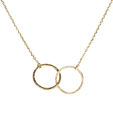 e03a1a0642c98 SPUNKYsoul Friendship for Eternity Necklace, 2 Two Interlocking Infinity in  Silver or Gold Circles Gift for Best Friend, Sister, Mother, Daughter for  ...