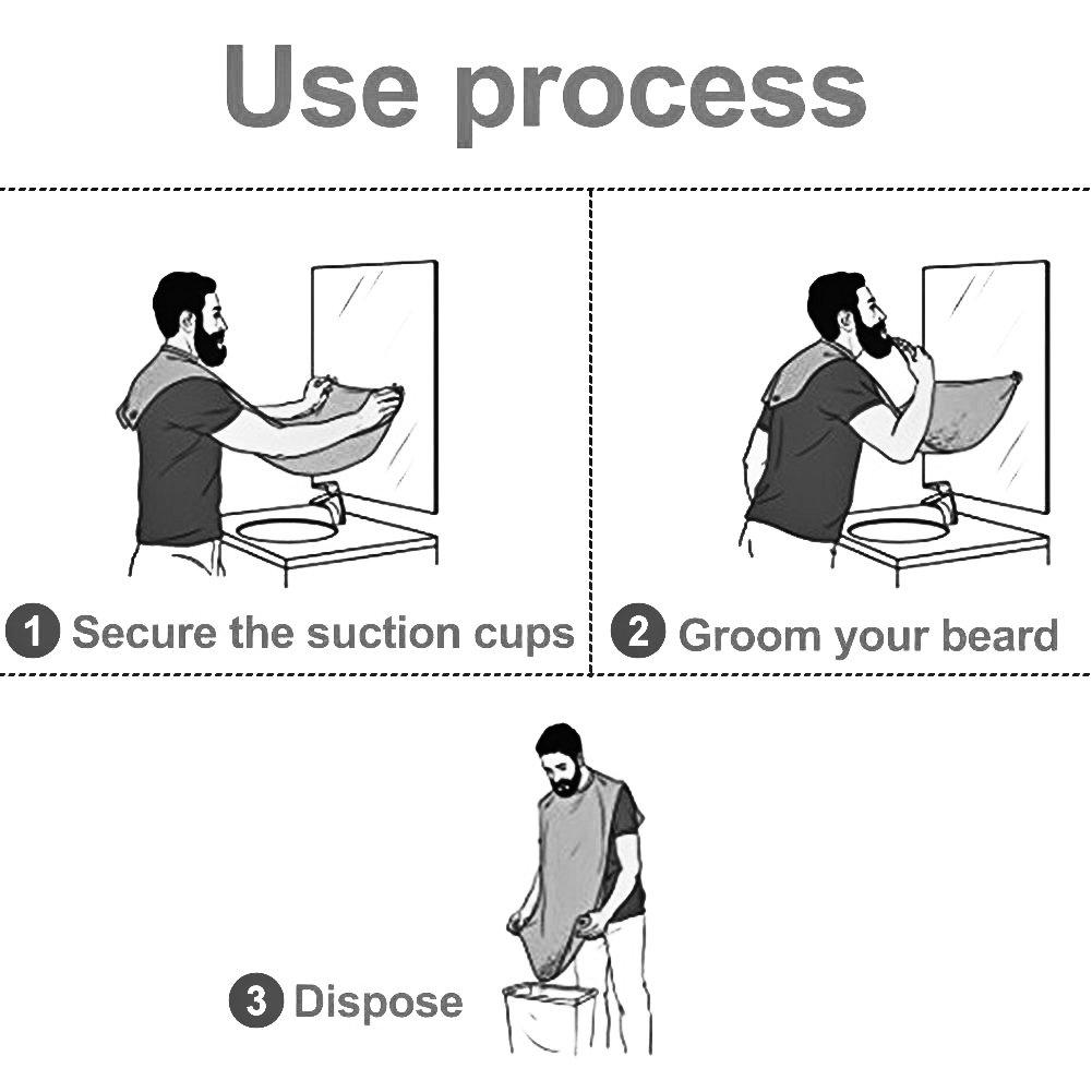 JUSTIME Bartschürze,Barttuch Rasur Schürze für eine saubere Rasur,Glatt Leicht Wasserdicht-Haare auffangen Perfektes Geschenk für den Mann mit 2 Saugnapf(schwarz)