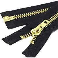YaHoGa Grand Fermetures éclair Métal Séparable Noir #10 Laiton Fermeture Éclair Métallique A Zipper Glissière pour Les Jackets