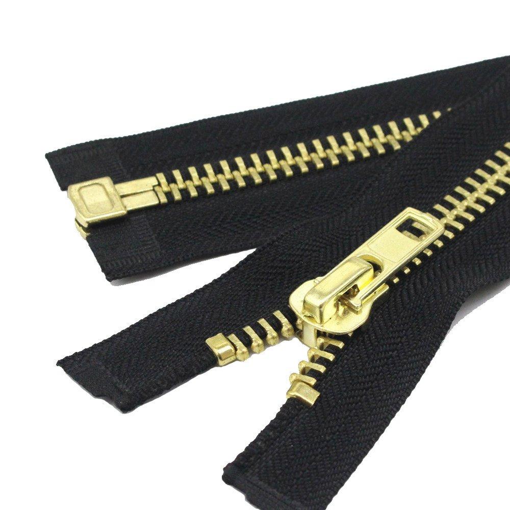 YaHoGa #10 32 Inch Brass Separating Jacket Zipper Y-Teeth Metal Zipper Heavy Duty Metal Zippers for Jackets Sewing Coats Crafts (32' Brass)
