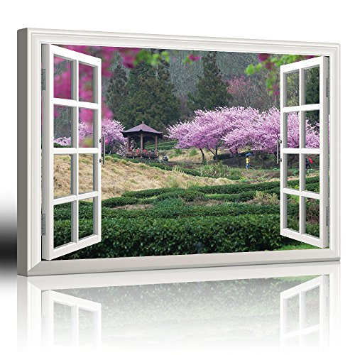 White Window Looking Out Into a Japanese Garden with Cherry Blossom Trees and a Kiosk