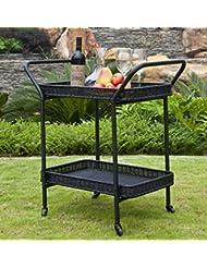Generic Tray Furniture Cart Pool Dec Cart Pool Deck Black Wicker Portable Table Patio Serving Rolling Tray Furniture Black Wicker