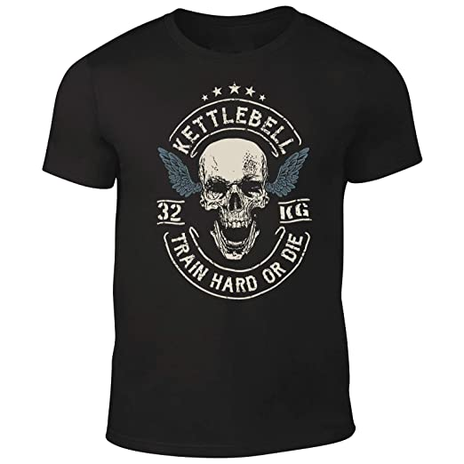DesignDivil Quality Mens Skull Crossed Barbells T-Shirt Weightlifter Kettlebell Bodybuilding Gym (Small)