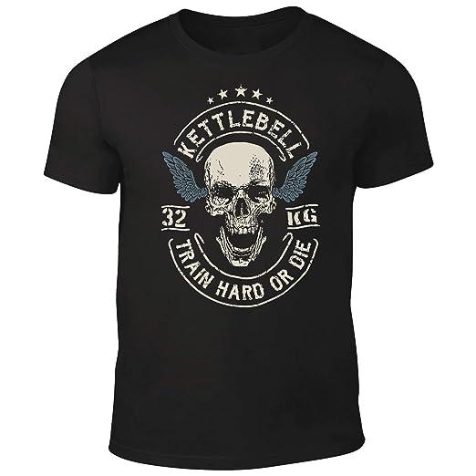 DesignDivil Quality Mens Skull Crossed Barbells T-Shirt Weightlifter Kettlebell Bodybuilding Gym (Small)