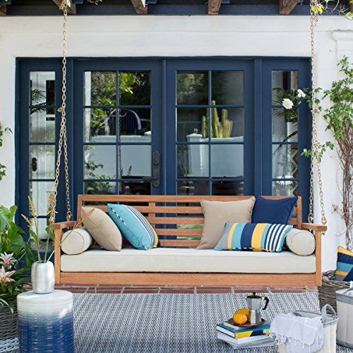 Cari Bay Deep Seating Porch Natural Finish Swing Bed Made of Eucalyptus Wood with Khaki Cushion and 4-Foot Hanging Chain - Assembly Required (Porch Swing Beds)