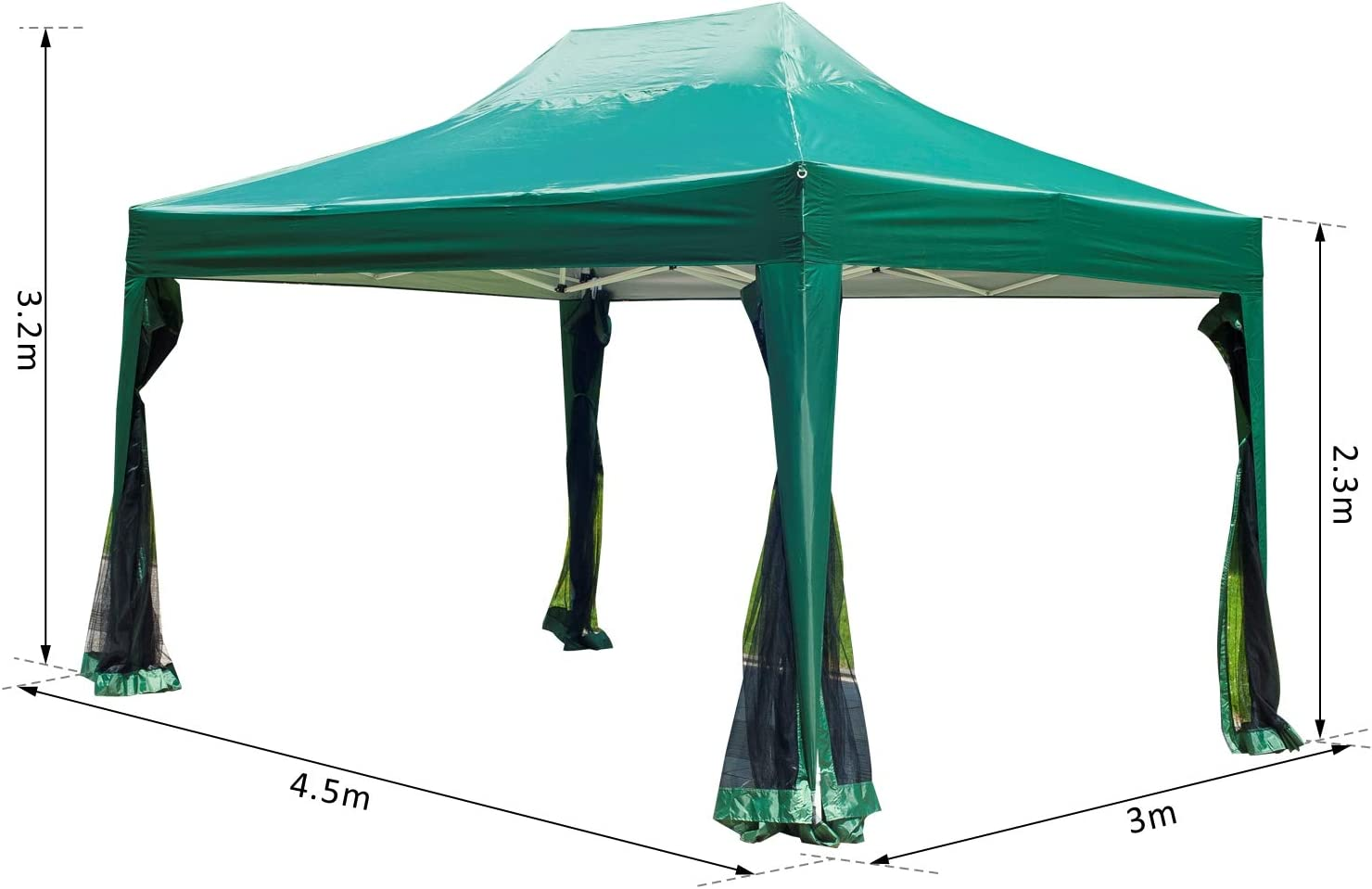 Outsunny Carpa 3x4.5m + Mosquitera Carpa Plegable en Acordeon Gazebo Verde terraza Jardin: Amazon.es: Jardín