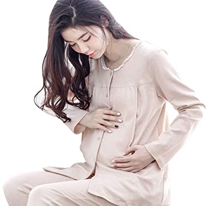 Nightwear Maternity Pajamas Pregnancy Beige Cotton Nightwear Solid Color Pregnancy  Sleepwear Sweet Lace Breastfeeding Clothes Pregnant f4aae809b14b