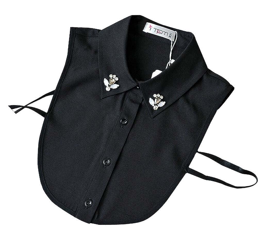 Black PANDA SUPERSTORE Chiffon Fake Collar Rhinestone False Collar