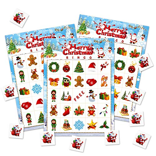 Christmas Bingo Game Cards 24 Players for Kids Holiday Family Home Party Game Activities