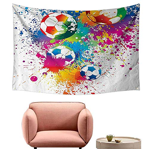 (Wall Sheets Tapestry Wall Tapestry for Living Room Colored Splashes All Over The Soccer Balls Score World Cup Champiship Athletic 91
