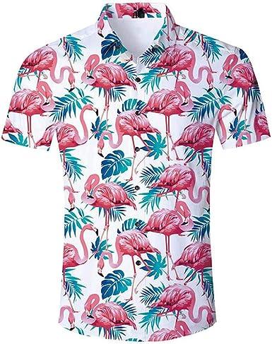 Blue Hawaiian Beach Wear Shirts Men Summer Casual Button Down ...