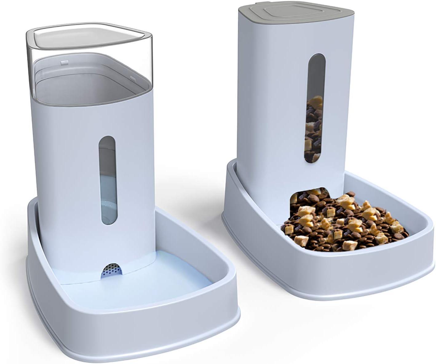 YGJT Dispensador Automático de Comida y Agua para Gatos y Perros 2 Piezas 3.8Lx2 Comederos y Bebedero para Alimentos Fuente Agua Alimentador Accesorios Mascotas