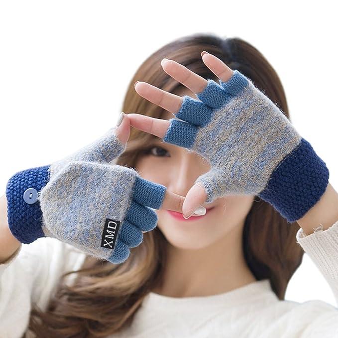 Guantes sin dedos de invierno con la cubierta de la manopla para ...