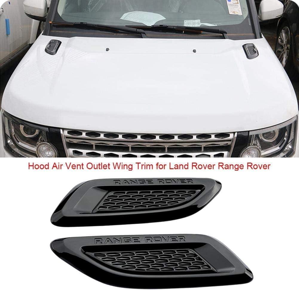 Nrpfell Negro Brillante Cubierta de Moldura de ala de Aire de List/ón de Ventilaci/ón de Campana Simulada para Discovery Sport Range Rover Evoque 2011-2018