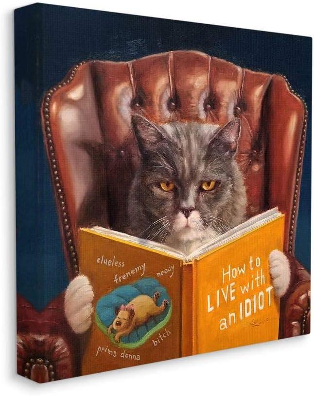 Stupell Industries Angry Cat Reading Dog Book Feline Pet Humor, Designed by Lucia Heffernan Wall Art, 17 x 17