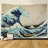 "Tapiz de pared Martine Mall, tapicería para colgar en la pared, la gran ola de Kanagawa por Katsushika Hokusai treinta y seis vistas del montaje Fuji tapiz de pared arte, The Great Wave Off Kanagawa, 70.9"" x 92.5"""
