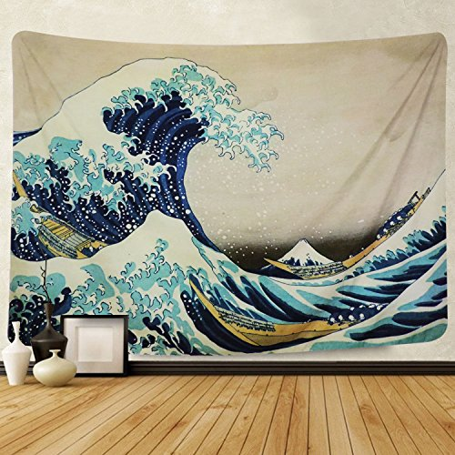 Martine Mall Tapestry Wall Tapestry Wall Hanging Tapestries The Great Wave Off Kanagawa Katsushika Hokusai Thirty-six Views Mount Fuji Tapestry Wall Art (The Great Wave Off Kanagawa, 51