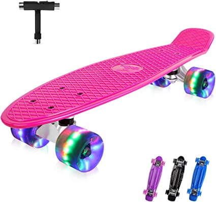 OUDEW Skateboards Complete 22 Inch Mini Cruiser Retro Skateboard with LED Light Up Wheels for Kids Boys Girls Youths Beginners