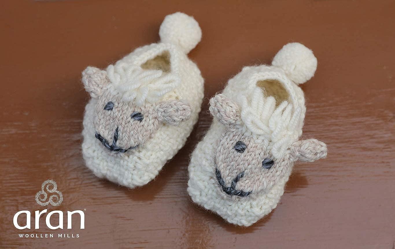 Irish Aran Baby Shepley Woollen Booties with Cute Sheep Design