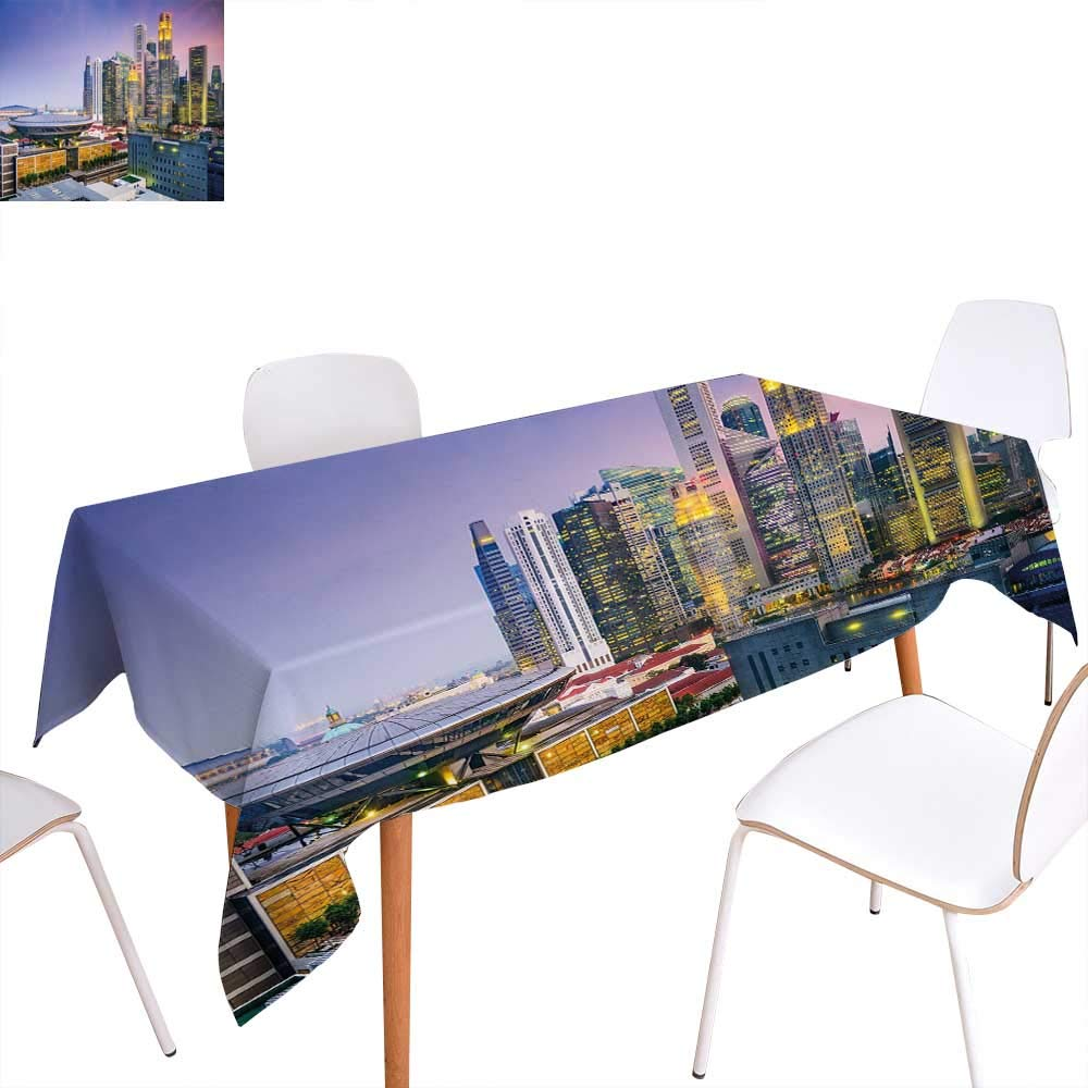 """familytaste Urban Patterned Tablecloth Skyline of Singapore at Evening Skyscrapers Stadium Active City Life Southeast Asia Dust-Proof Oblong Tablecloth 52""""x70"""" Multicolor"""