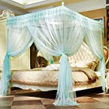 XRXY Mosquito Net Stainless Steel Stable Floor-Standing Mosquito Net/Encryption Thicken Pure Color Splice Mosquito Net/Three-doored Fashion Lengthen Anti-Mosquito Bed Mantle (4 Colors Available)