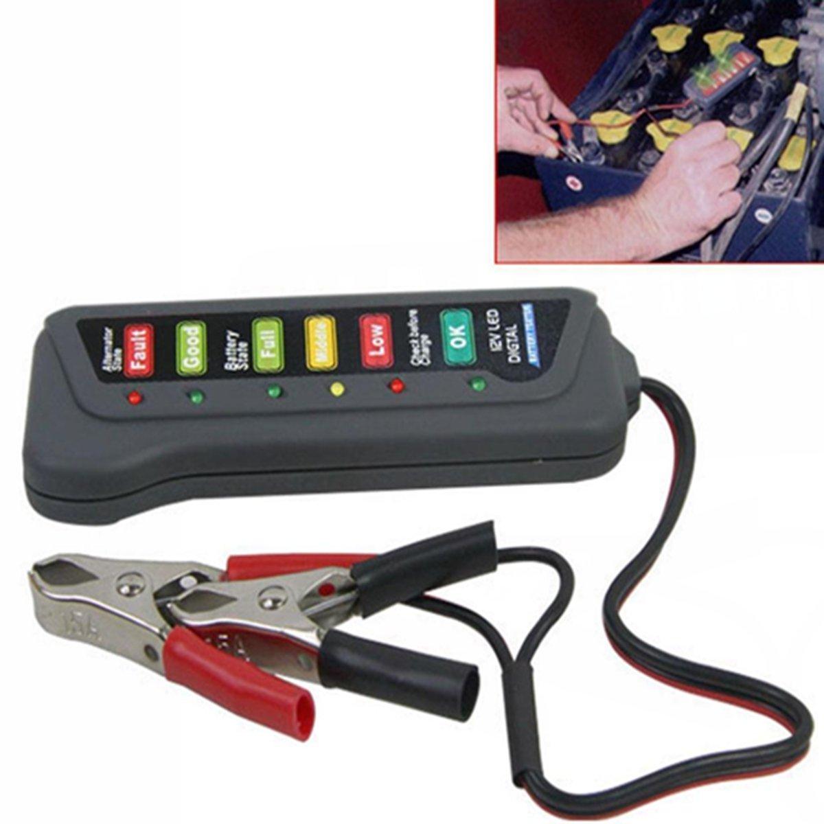 SUNDELY® 12V Digital Battery Alternator Tester With 6 LED Lights Display For Cars Trucks 387832