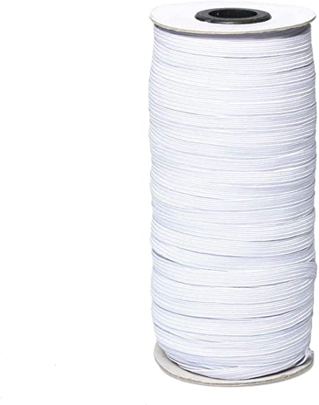 White 6mm Width 22 Yards Elastic String Heavy Stretch Knitted Elastic Band Rope Elastic Spool for Sewing Crafts