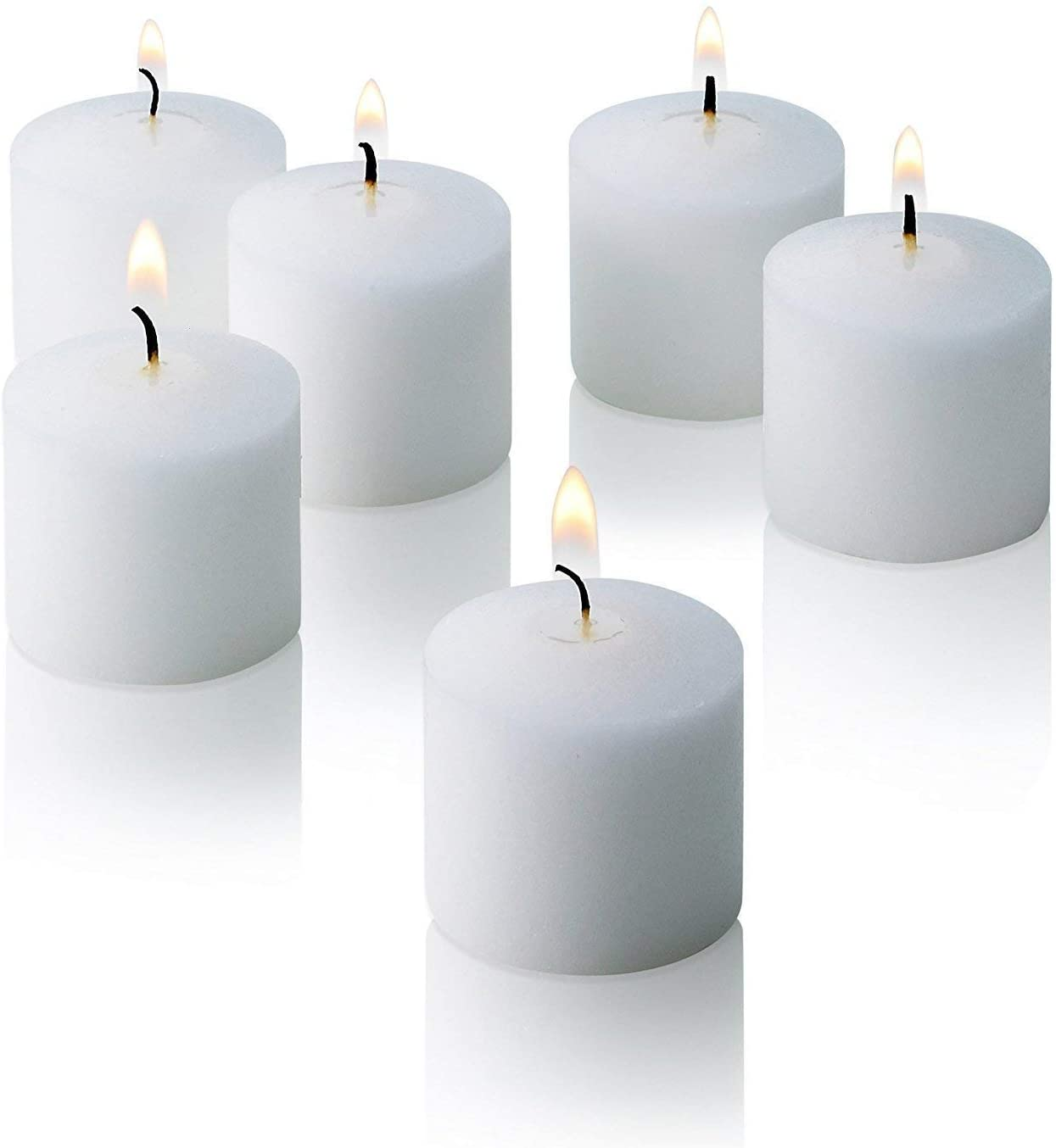 Light In The Dark White Votive Candles - Box of 72 Unscented Candles - 10 Hour Burn Time - Bulk Candles for Weddings, Parties, Spas and Decorations
