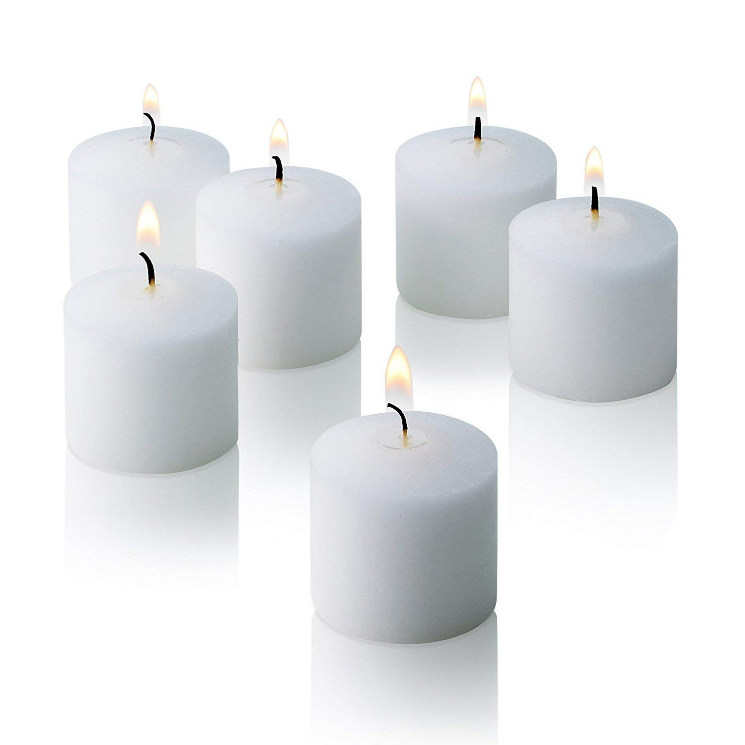 White Votive Candles - Box of 72 Unscented Candles - 10 Hour Burn Time - Bulk Candles for Weddings, Parties, Spas and Decorations by Light In The Dark