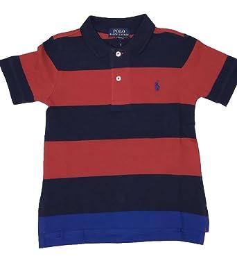 8df1214ae5 RALPH LAUREN Polo Boy's Wide Striped Polo Collar Shirt (Red/Dark Blue, ...