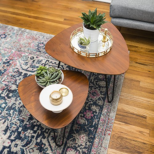 WE Furniture Hairpin Leg Wood Nesting Coffee Table Set - Walnut by WE Furniture (Image #2)'