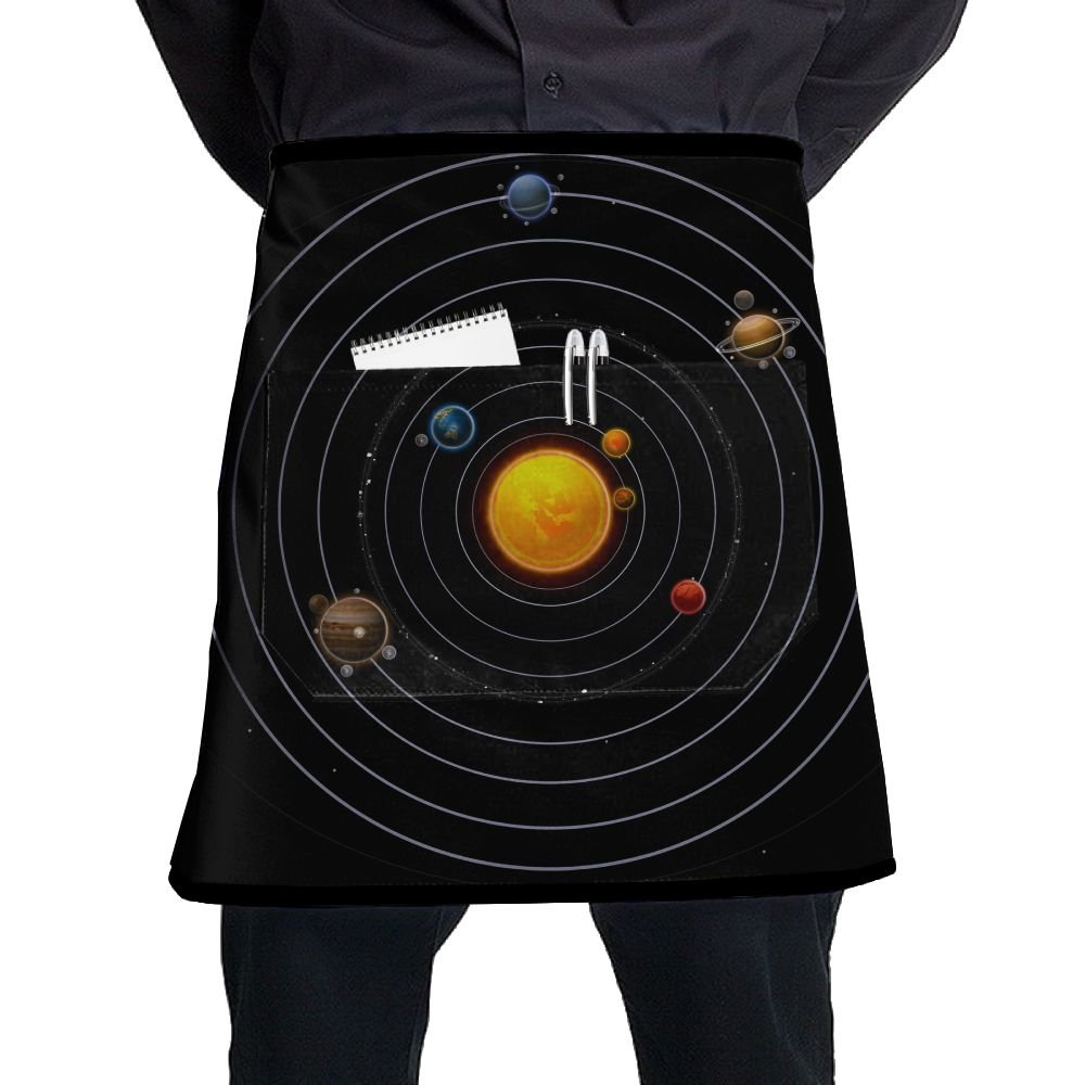 Jaylon Waist Short Apron Half Chef Apron Solar System Cooking Apron with Pockets Home Kitchen Cooking Pinafore