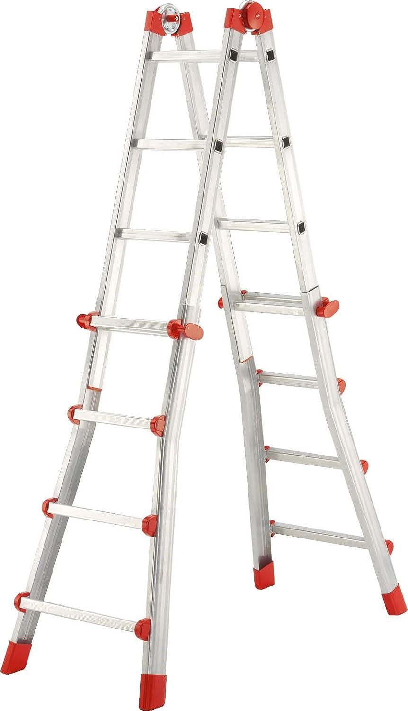 Hailo ProfiStep-Multi Escalera Plegable, Aluminio, Rojo: Amazon.es: Hogar