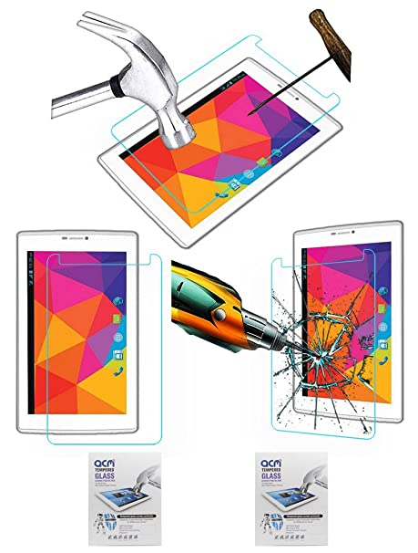 Acm Pack of 2 Tempered Glass Screenguard Compatible with Micromax Canvas Tab P480 Tablet Screen Guard Scratch Protector Touch Screen Tablet Screen Pro