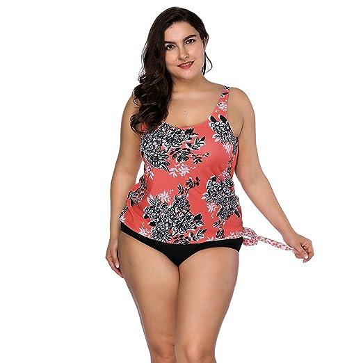 22227f74507 YUMDO Women s Two Piece Floral Printed Swimsuits Vintage Swimwear Plus Size  Bikini Set Orange 3XL