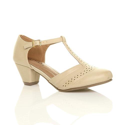 Femmes Talon Moyen Découper Chaussures Richelieu Escarpins Pointure 3 36 a315836b8ab4