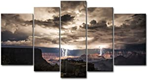 5 Piece Wall Art Painting Lightning Strikes in The Grand Canyon Dark Cloud Pictures Prints On Canvas Landscape The Picture Decor Oil for Home Modern Decoration Print for Kids Room