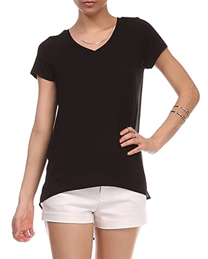 d76a518d4013 Women's V Neck High Low Flutter Back Short Sleeve Top (Black, Small) at  Amazon Women's Clothing store: