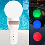 Pool Chlorine Floater, Spa Chemical Dispenser with Solar Ball Light, Floating Chlorine Dispenser Up to 6PCS 3inch Tablets, Po