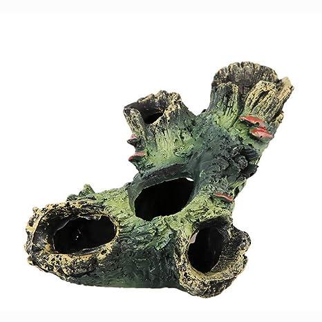 Adorno para acuario de resina con agujero de simulación de madera muerta, decoración para peceras
