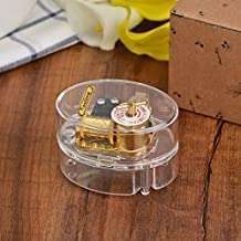 Laxury Stationery Type Creative Transparent Acrylic 18-note Wind-up Musical Box,Musical Toys,Tune:Frozen Let it Go,Clear